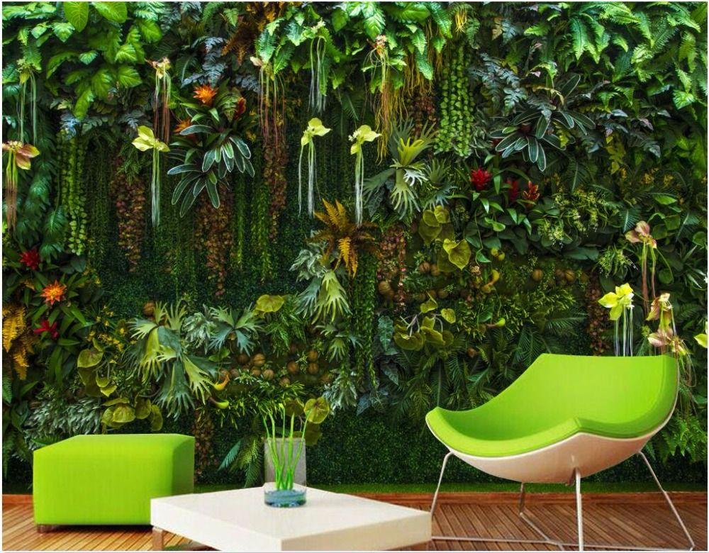 benutzerdefinierte mural 3d wallpaper regenwald blumen pflanzen bl tter wohnzimmer wohnkultur. Black Bedroom Furniture Sets. Home Design Ideas
