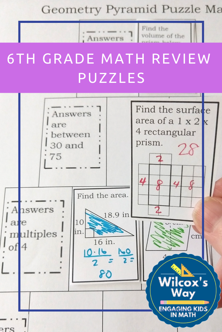 6th Grade Math Review Puzzles | Math review, Middle school ...