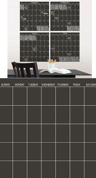 Black Chalkboard 4 Piece Wall Sticker Calendar - Wall Sticker Outlet ...