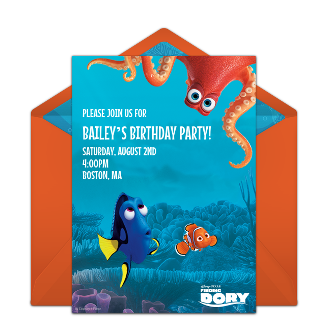Free finding dory friends invitations birthday party themes and customizable free finding dory friends online invitations easy to personalize and send for a finding dory birthday party punchbowl stopboris Gallery