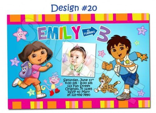 Dora the Explorer and Go Diego Go Birthday Party Photo Invitations – Dora the Explorer Party Invitations