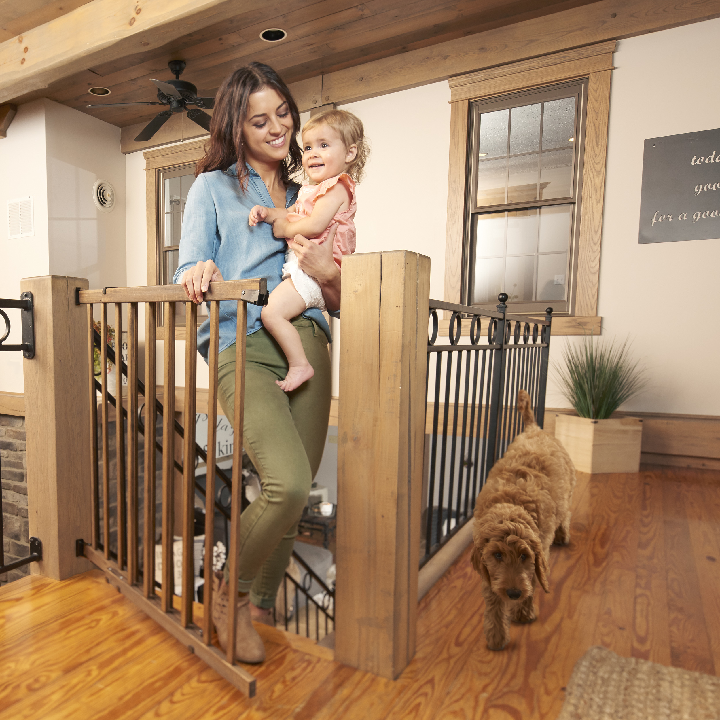 Farmhouse Collection Walk Thru Top Of Stairs Baby Gate The Evenflo