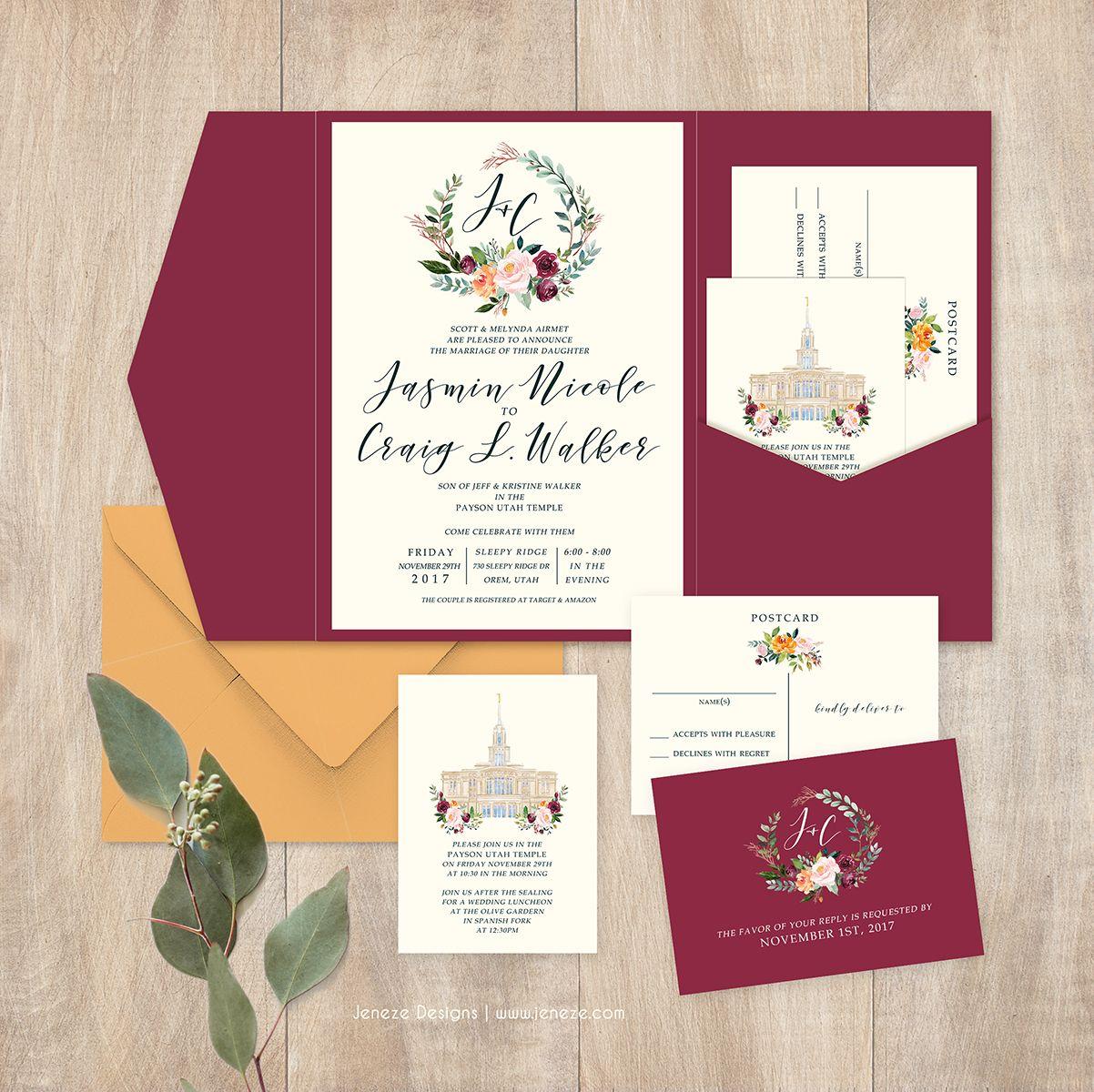 Maroon pocket wedding invitation suite. Pretty flowers in warm ...