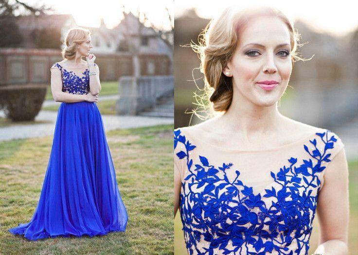 Nice Evening dresses Royal Blue Appliques Real Made Prom Dresses ...