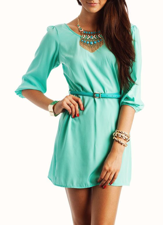 Mint 3/4 Sleeve Dress