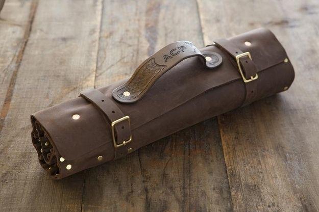 the monogrammed knife roll knives kitchens and leather. Black Bedroom Furniture Sets. Home Design Ideas
