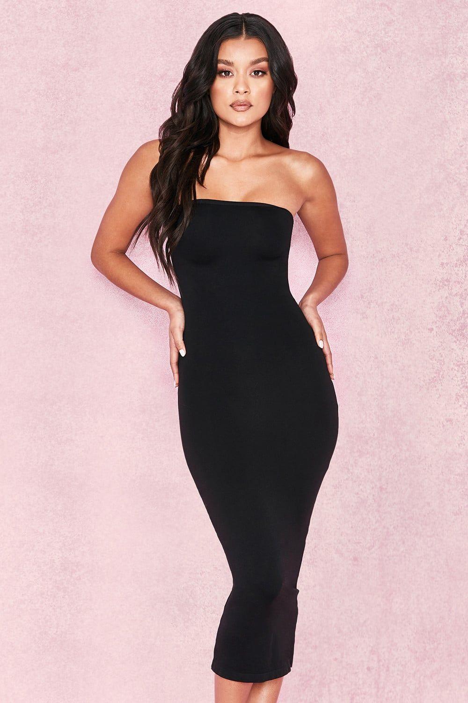 4a96fdbd68606e Clothing : Bodycon Dresses : 'Luciana' Black Strapless Seamless Knit Dress    Black Bodycon Dresses   Dresses, Knit dress, Bodycon dress