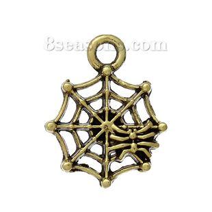 """Wholesale - Zinc Metal Alloy Charm Pendants Cobweb Gold Tone Antique Gold Spider Carved 17mm(5/8"""") x 14mm(4/8""""), 100 PCs"""