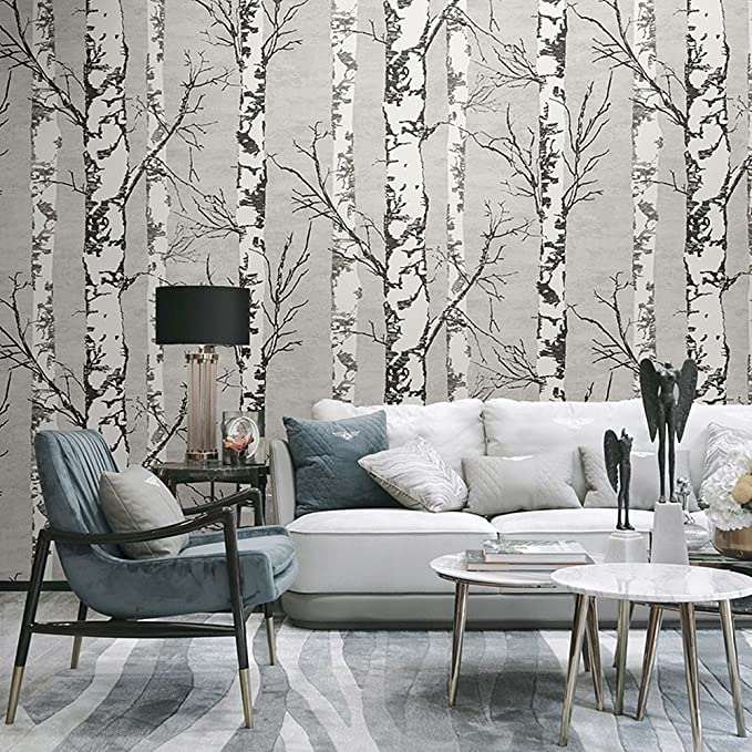 Blooming Wall Modern Birch Tree Wall Mural Wallpaper For Livingroom Bedroom 57 Square Ft Roll Wallpaper Living Room Murals Tree Wall Murals Forest Wall Mural