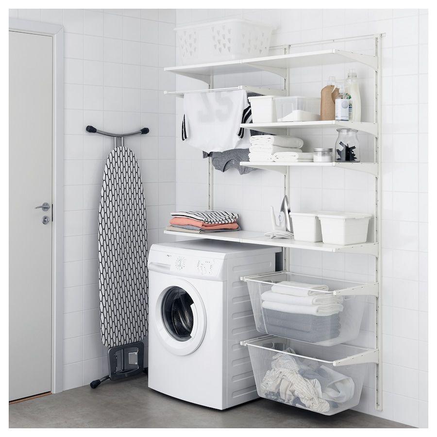 Algot Wall Upright Shelves Drying Rack White Ikea Waschkuchenorganisation Waschkuchendesign Wandschiene