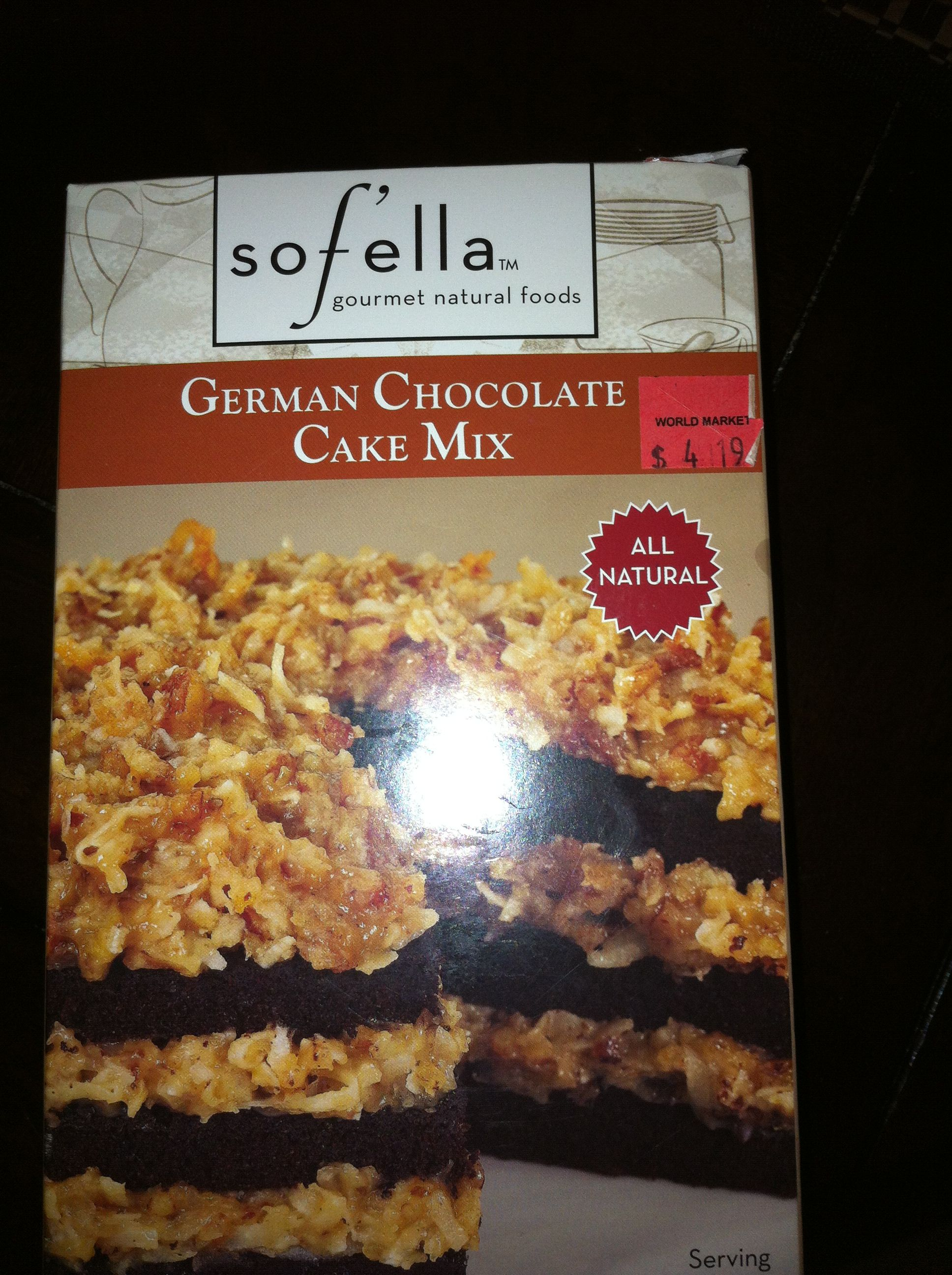 Best German chocolate cake ever out if a box.