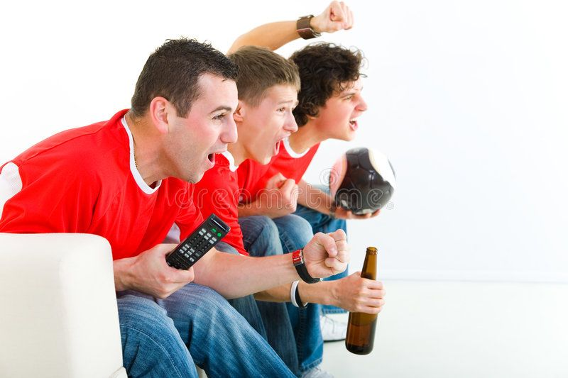 Football Fans Three Happy Soccer Fans Sitting On Couch And Watching Sport On Tv Sponsored Soccer Sitting Soccer Fans Football Fans Stock Images Free