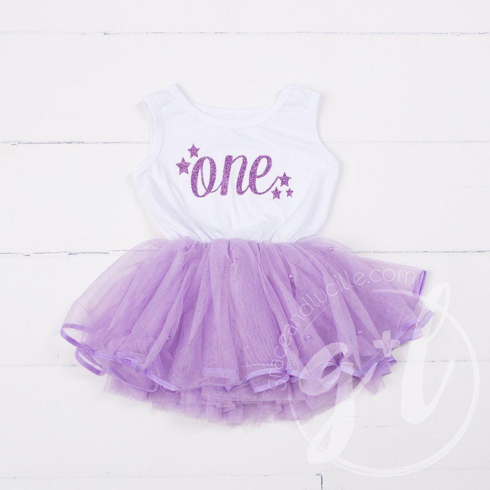 1st Birthday Dress Purple Starry Script \