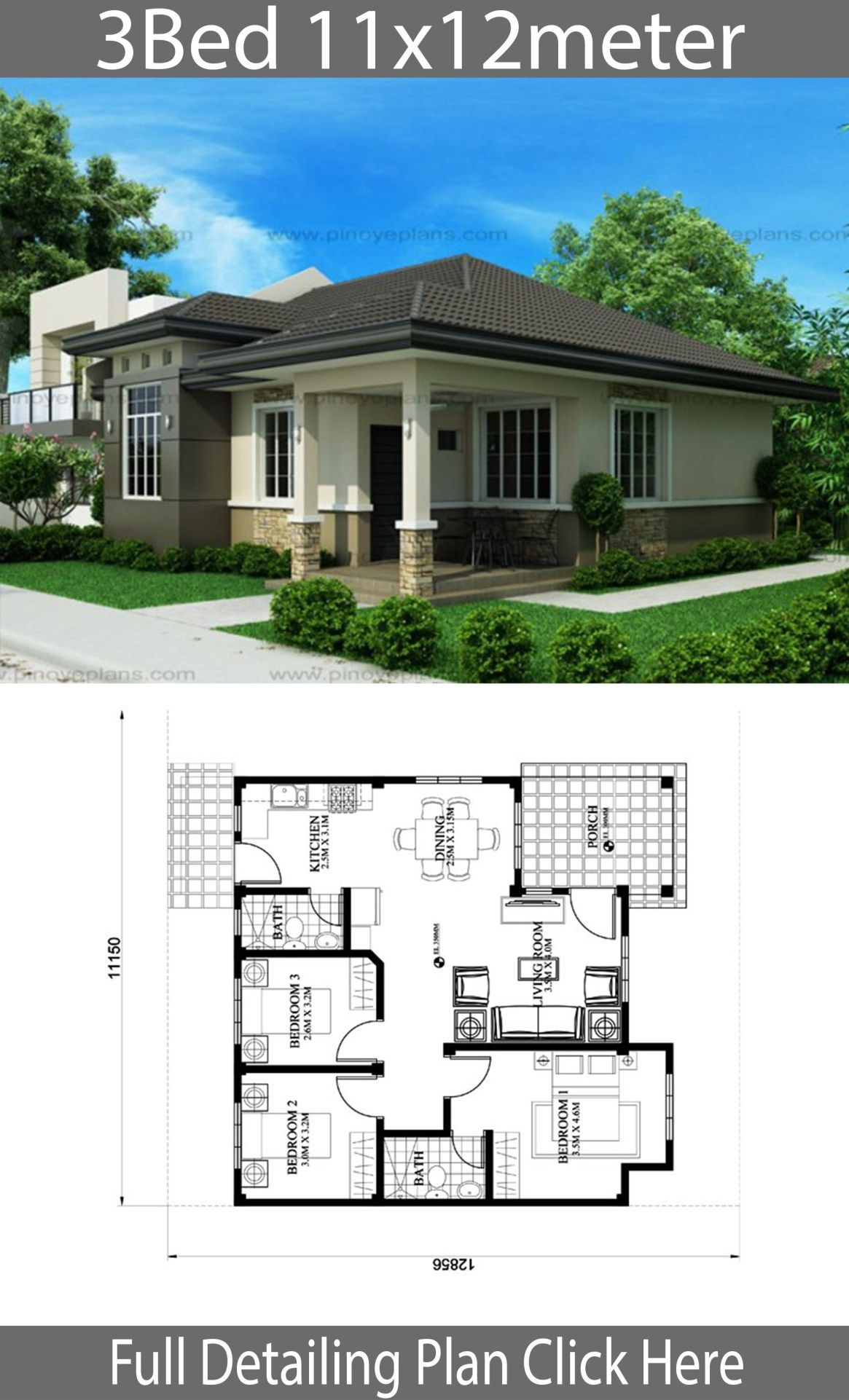 House Design 11x12m With 3 Bedrooms Architect Design House Simple House Design Simple Bungalow House Designs