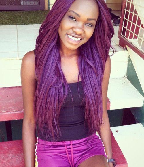 Dark Skin Girls With Purple Hair Google Search Popular Hair Color Girl With Purple Hair Skin Tone Hair Color