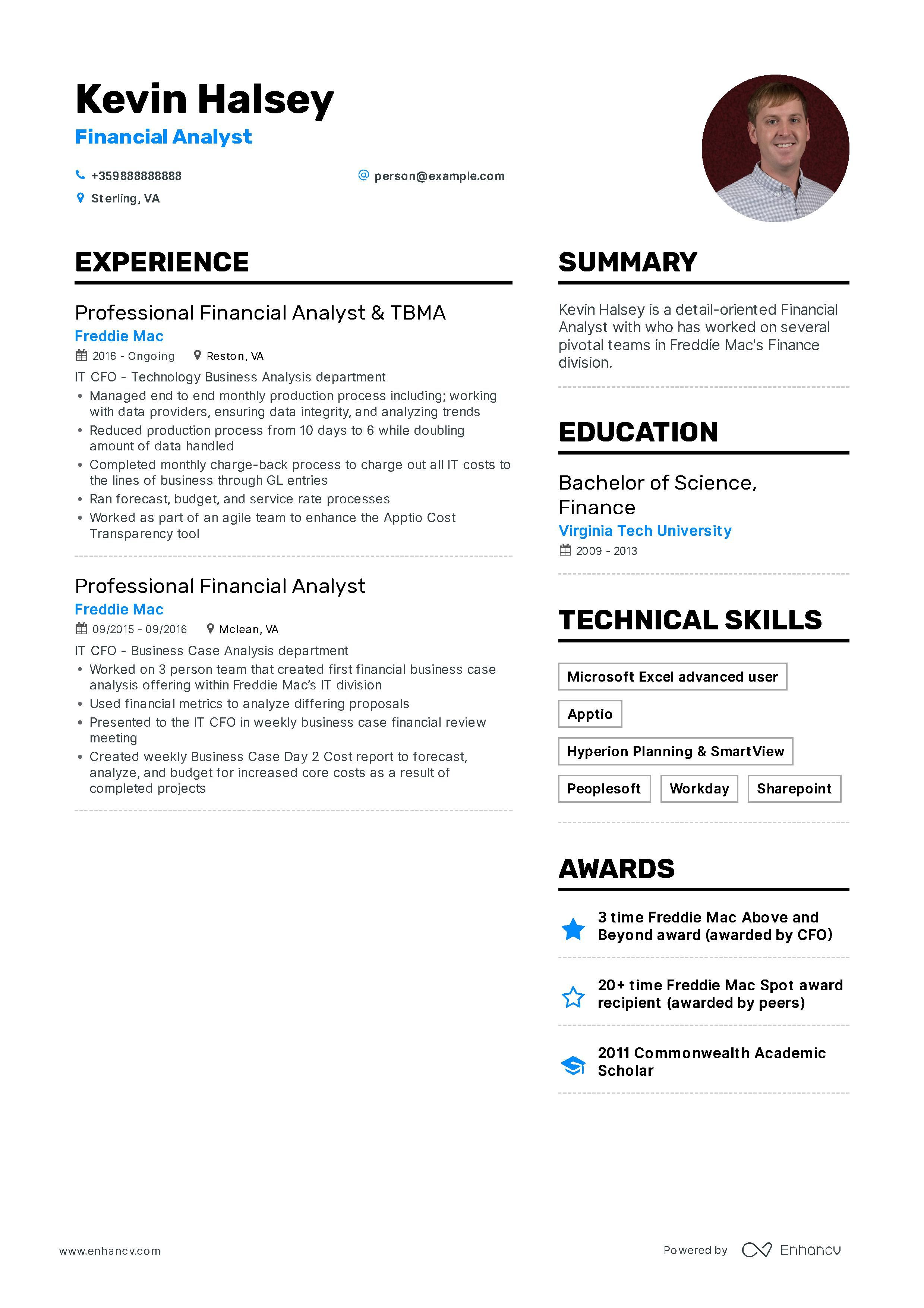 Download financial analyst resume example for 2020