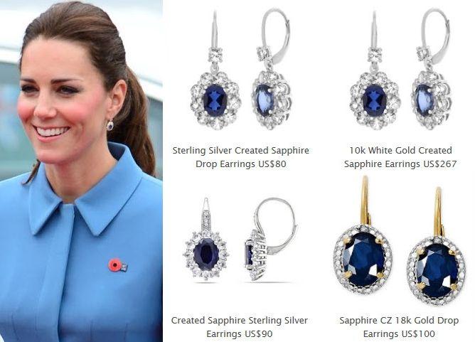 Sapphire Diamond Oval Drop Earrings Kate Middleton Earrings Kate Middleton Earrings Sapphire Earrings Kate Middleton Jewelry
