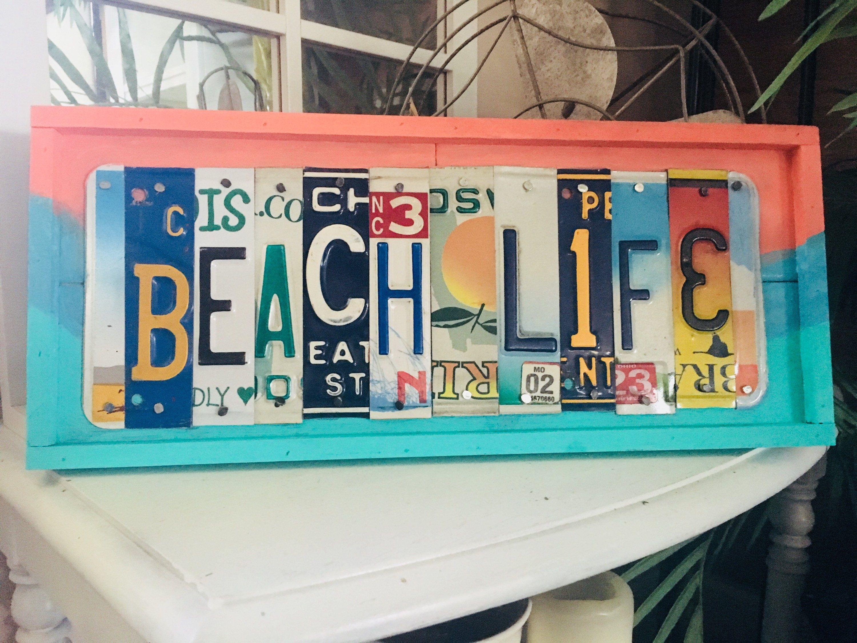Beach life sign beach theme gift coastal decor beachy