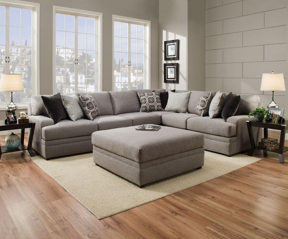 Simmons Beautyrest 8561 Pocket Coil Grey Sectional Sofa San Diego