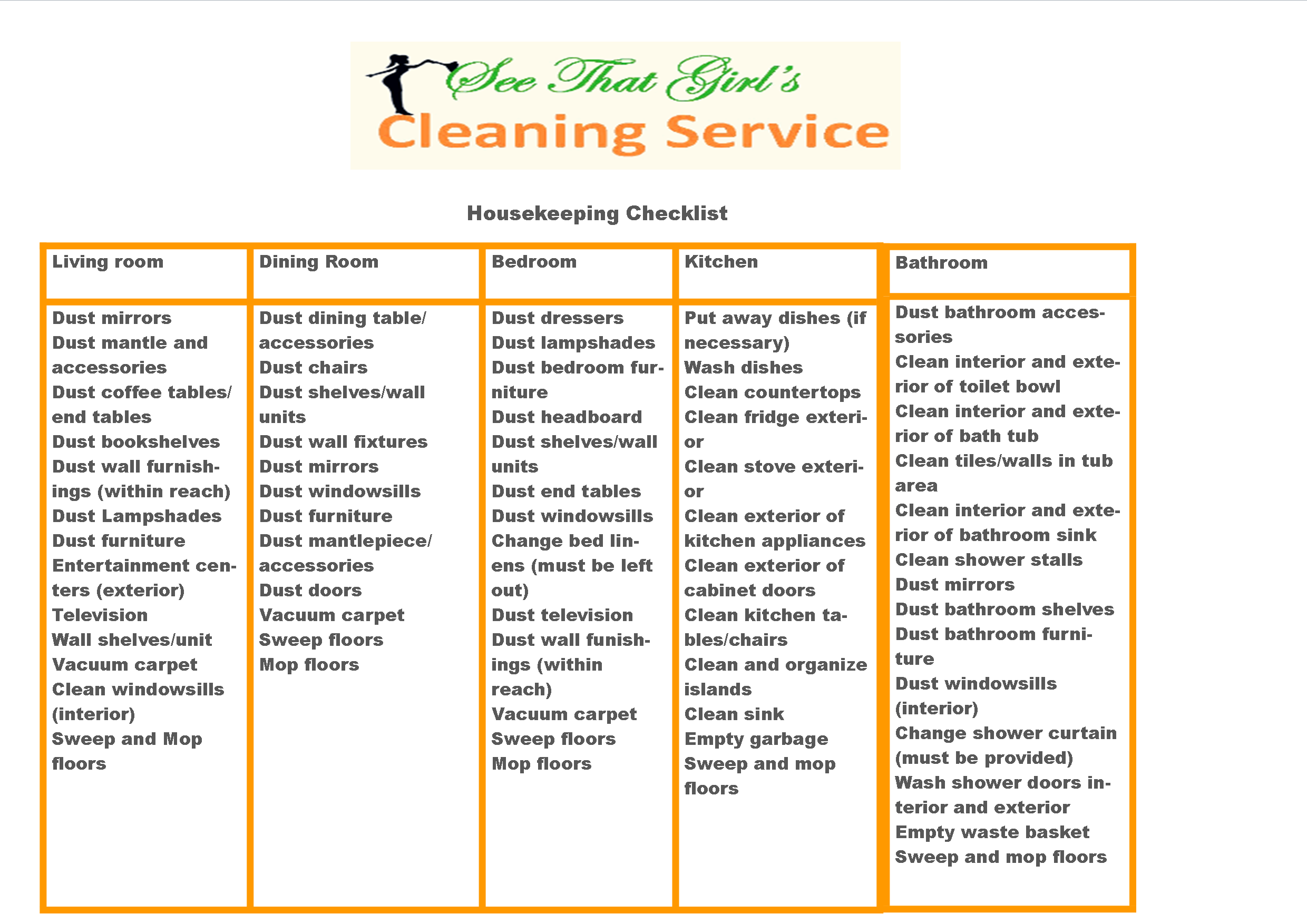 cleaning checklist for business