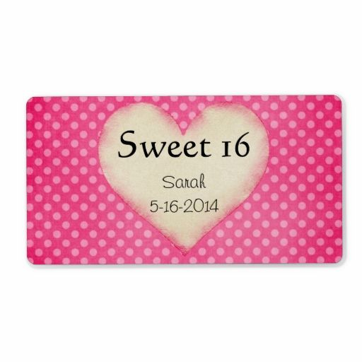 Personalized Sweet 16 Label Template Zazzle Com Label Templates Baby Shower Bottle Labels