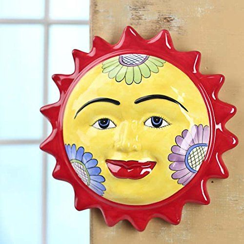 Ceramic Colorful Sun Face Hanging Wall Art Plaque for Indoors or ...