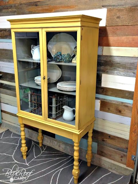 Add Legs To A Cabinet   Yellow China Cabinet