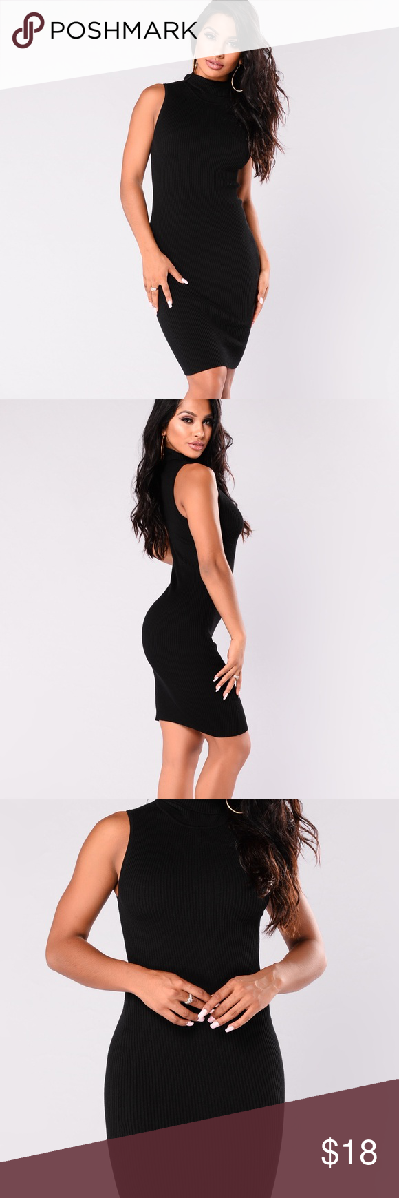 ba2859e8ce8 NEW Fashion Nova Sleeveless Black Bodycon Dress M NEW Fashion Nova  Sleeveless Knit Black Bodycon Dress