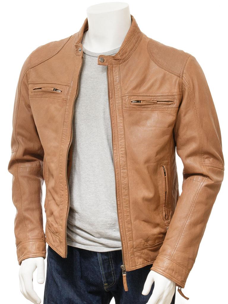 Qastan New Men S Stunning Tan Biker Sheep Leather Jacket Qmj96 Qastanwears Online Store Powered By S Leather Jacket Men Men S Leather Jacket Leather Jacket [ 1024 x 768 Pixel ]