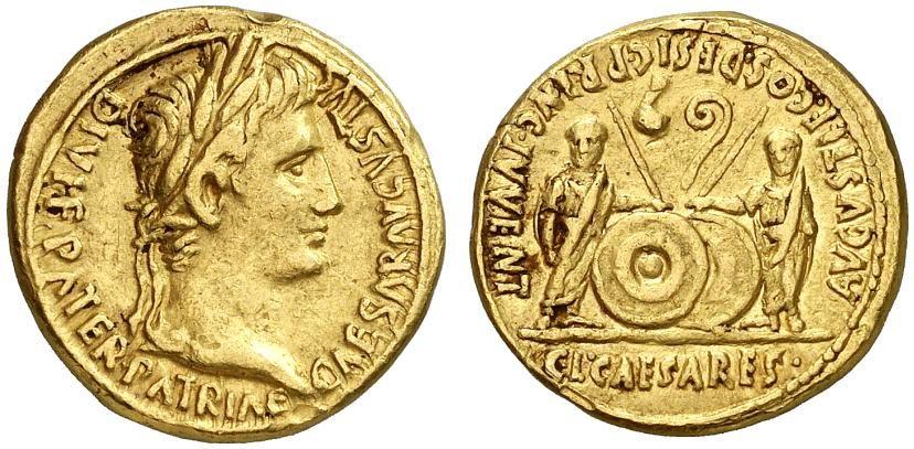 Römische Münzen Aureus Augustus 27 V Chr 14 N Chr Ric 206