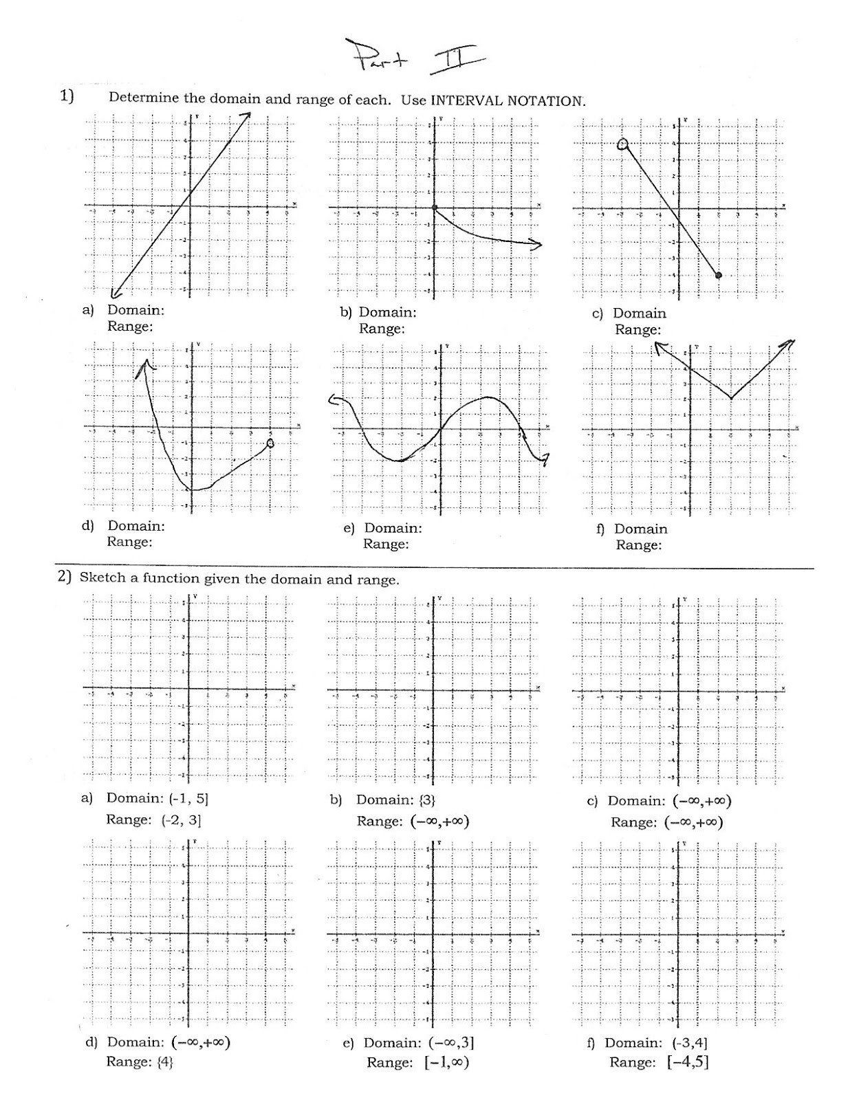 Domain And Range Practice Worksheet 34 Domain And Range
