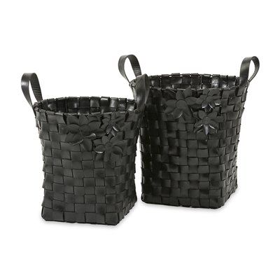 IMAX Worldwide 89860-2 Carswell Recycled Tire Baskets - Set of 2