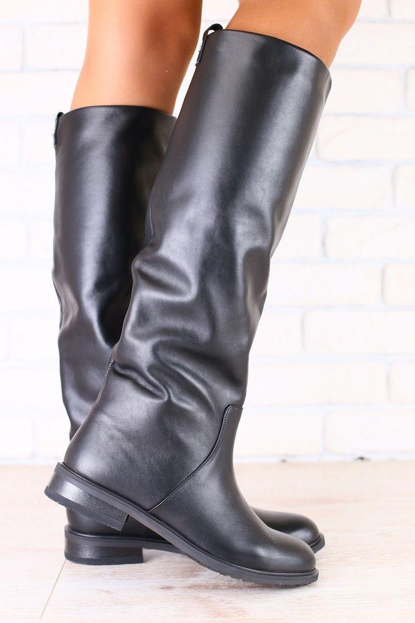 6693f7a46 код: 2882 Зимние женские сапоги-европейка, кожаные низкий ход, черные, без