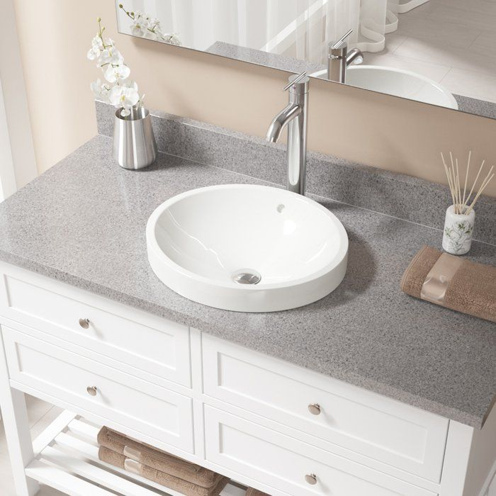 Vitreous China Circular Vessel Bathroom Sink With Faucet