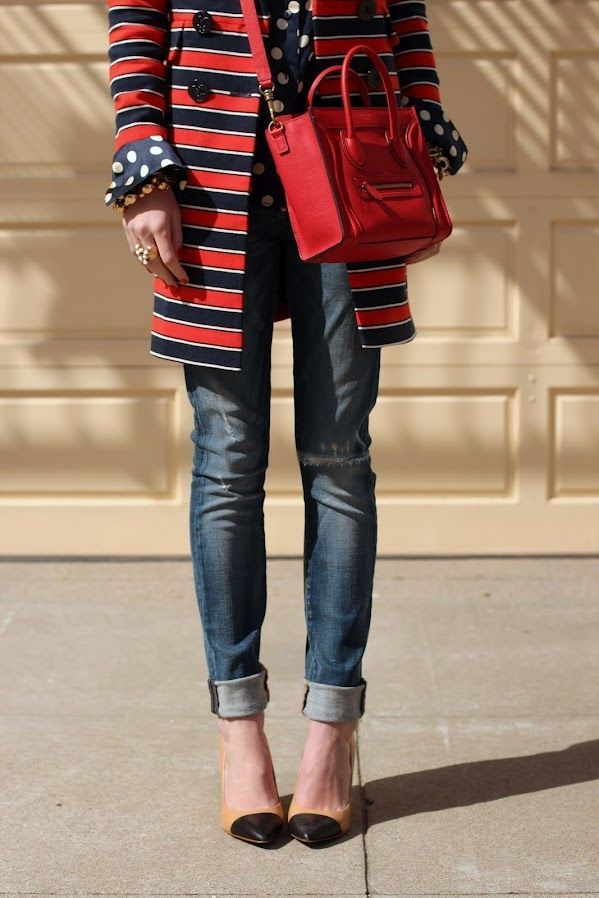 stripes and dots - nice combo at KG Street Style