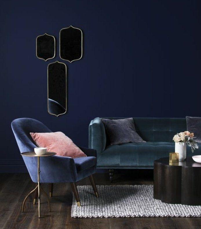 ▷1001+ idées pour une déco maison couleur indigo Salons - peindre un mur en bois