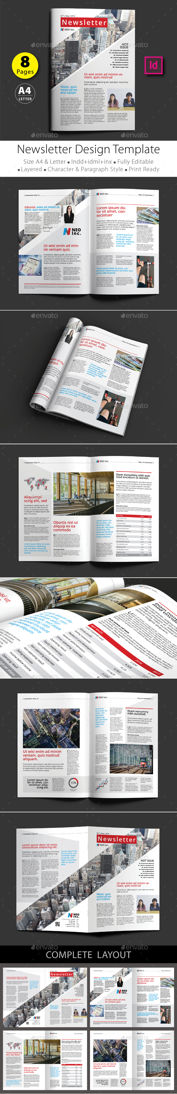8 pages newsletter design template v 1 newsletters print templates