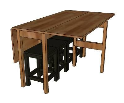 Drop-leaf console table expands to full sized dining table and has space underneath to store four stools. Free DIY plans.