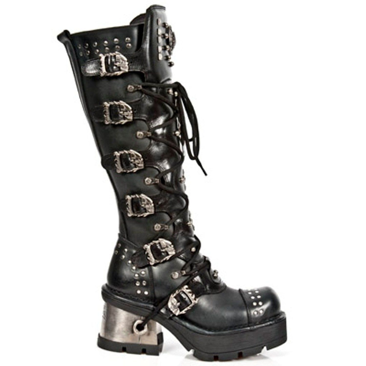 d9a69f100537 New Rock Tall Black Leather Reactor Boots Goth Gothic Goth Girls Goth  Guys Alternative Leather New Rocks Occult Chrome Metal