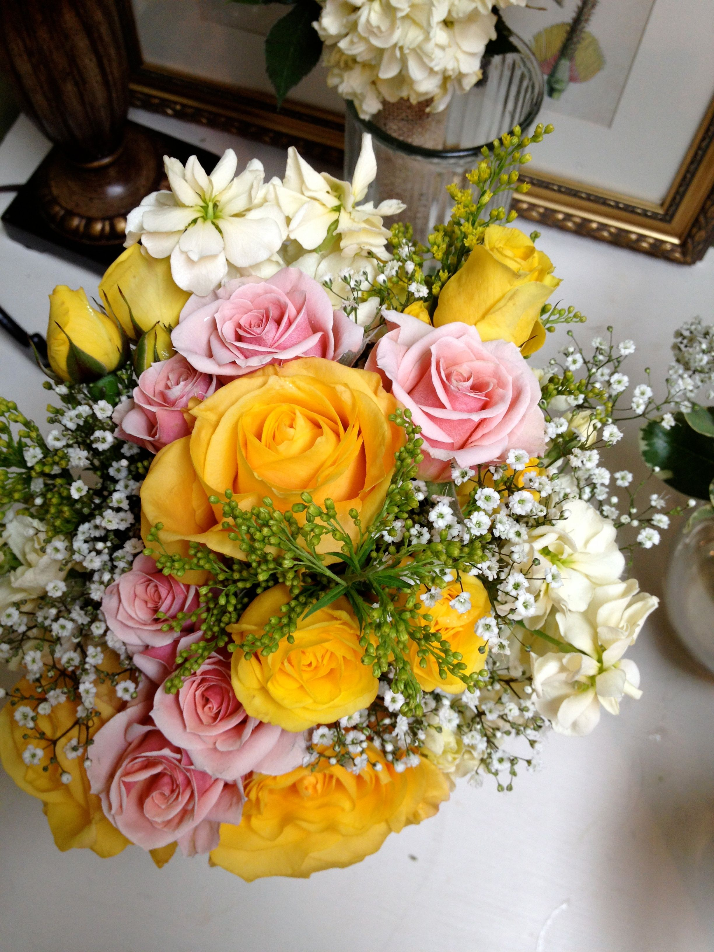 Yellow Roses Pink Roses And Baby S Breath By Alta Fleura Pink Roses Yellow Roses Babys Breath