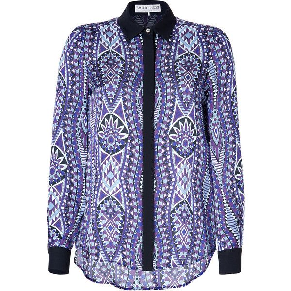 EMILIO PUCCI Silk Print Blouse in Mosto ($644) ❤ liked on Polyvore featuring tops, blouses, shirts, button front shirt, blue silk blouse, blue shirt, silk print blouse and silk blouses