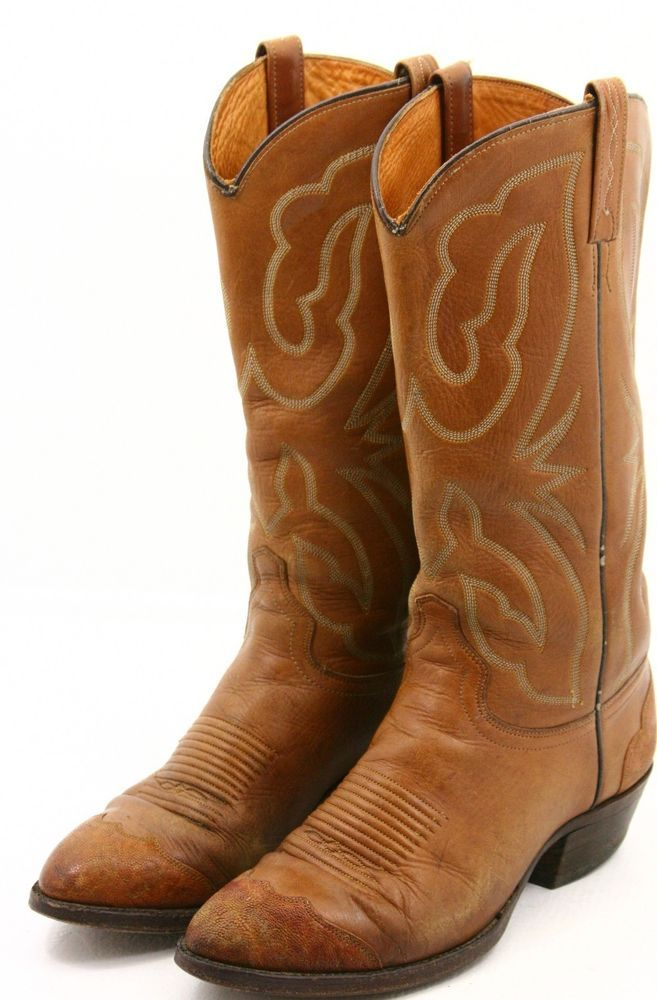 42cc0a44d2a J Chisholm mens cowboy boots size 8 D leather exotic elephant toe ...