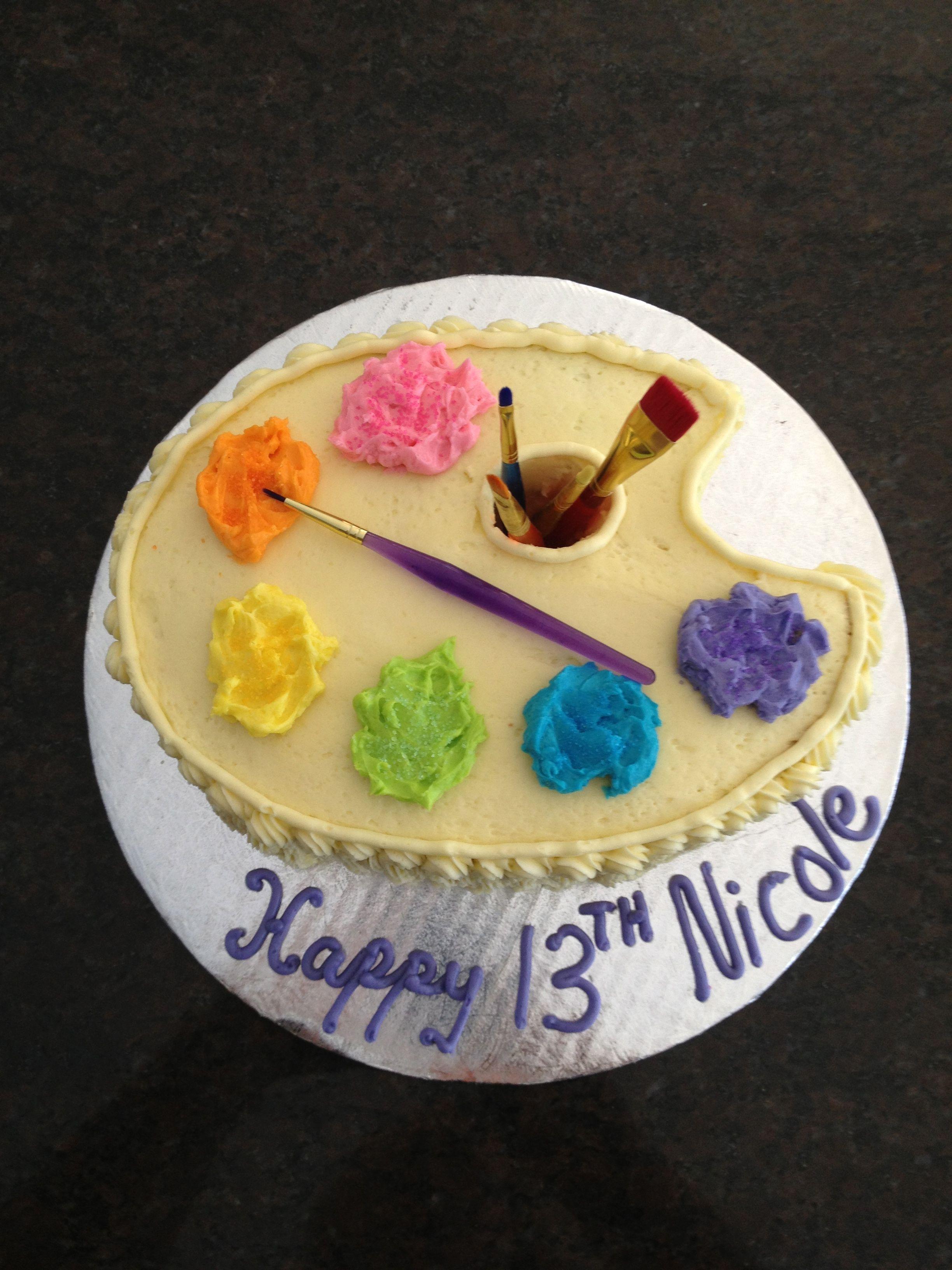 Paint Palette Cake art party Pinterest Paint ...