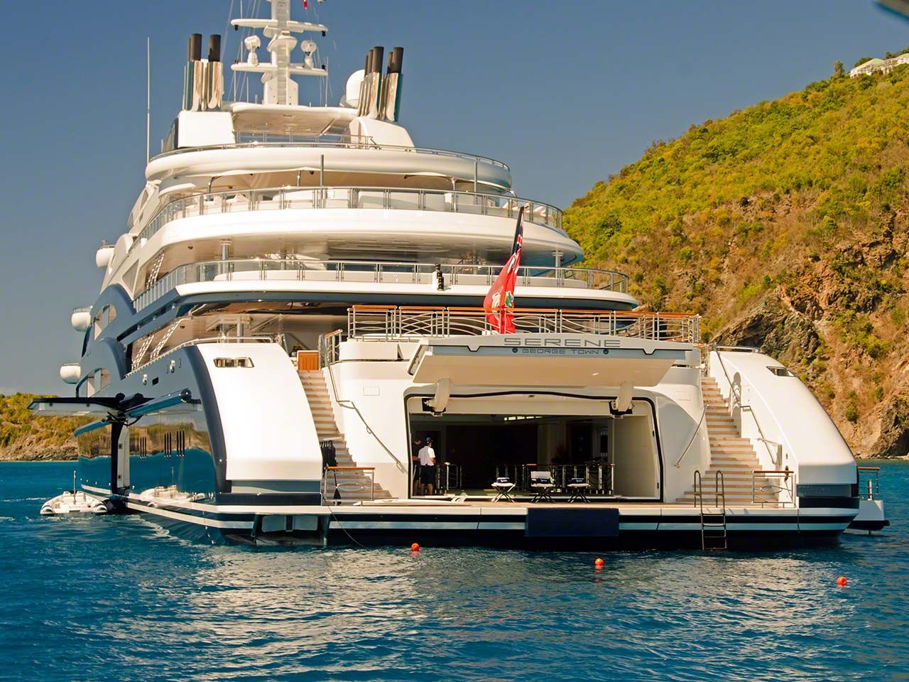 Serene Yacht Caribbean The Stern Of Serene Is Wider Than