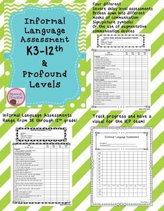 Informal Language Assessments For K3 Through 12th Grade Plus Severe Profound Language Assessments Inclu Speech And Language Speech Therapy Materials Assessment Parents and caregivers, please work with your children to fill out the questions below in order to best serve your students for. pinterest