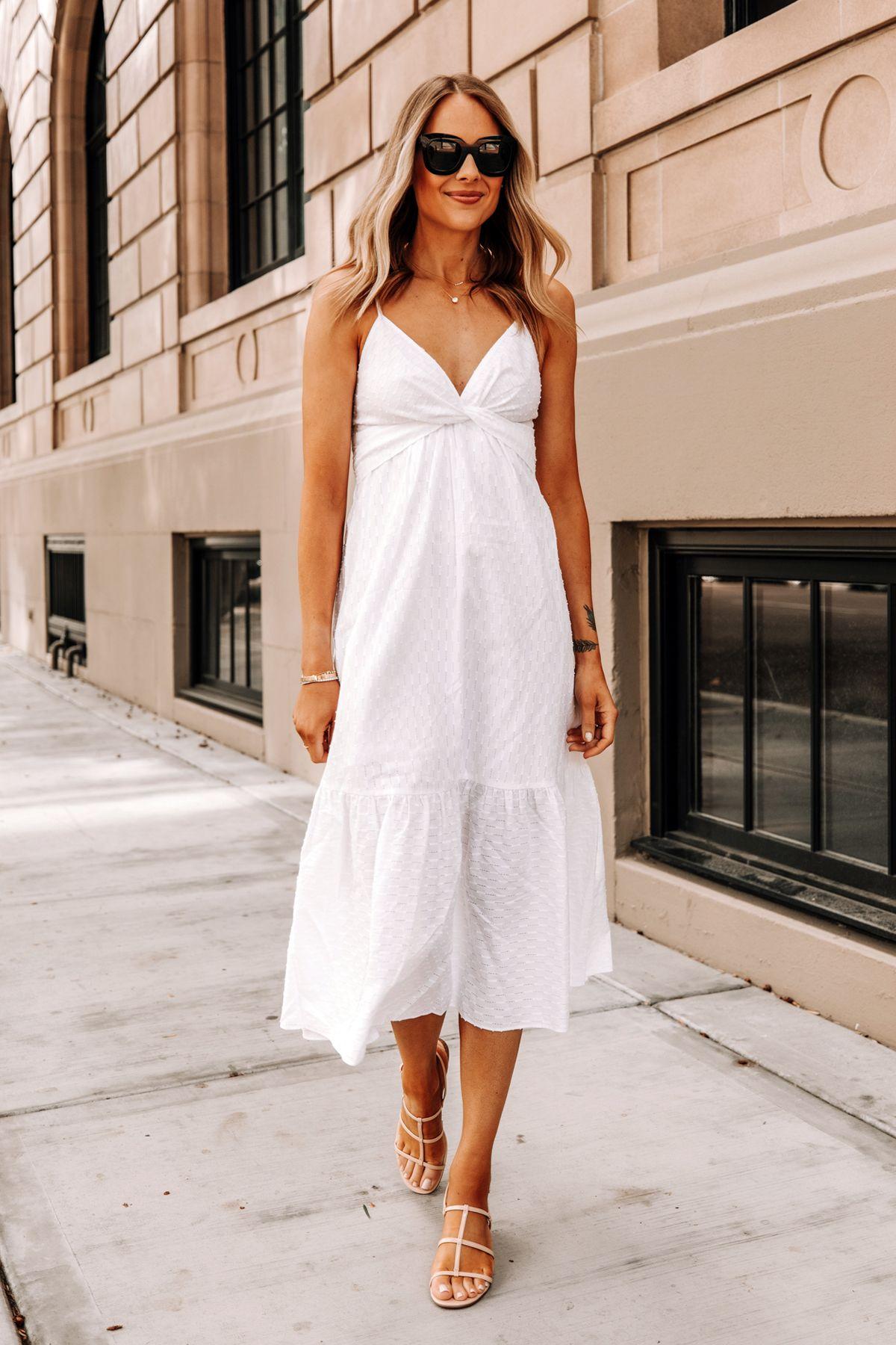 Fashion Jackson Wearing Banana Republic White Midi Dress Tan Sandals White Dress Summer Summer Dresses Fashion Jackson [ 1800 x 1200 Pixel ]