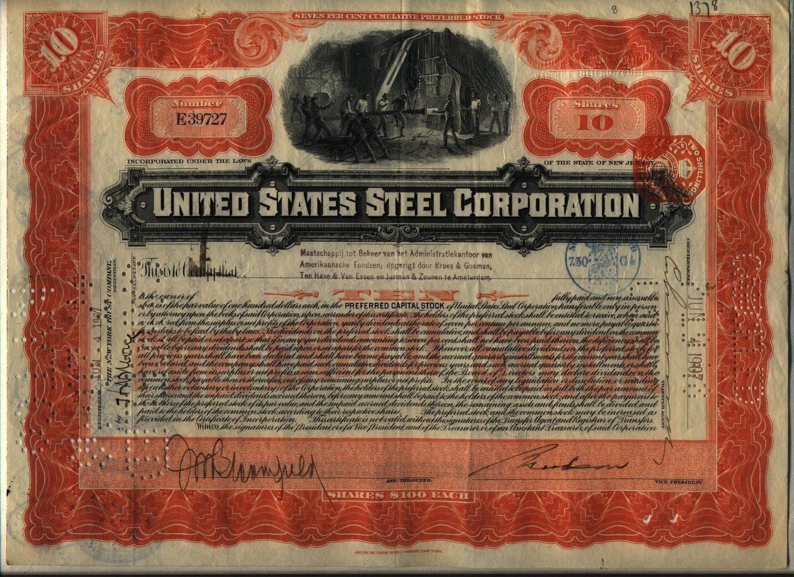 1907 United States Steel Corporation Stock Certificate
