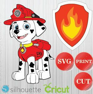 Paw Patrol Svg Instant Download Printable Decals For Cricut And Silhouette Marshall Paw Patrol Paw Patrol Party Silhouette Crafts