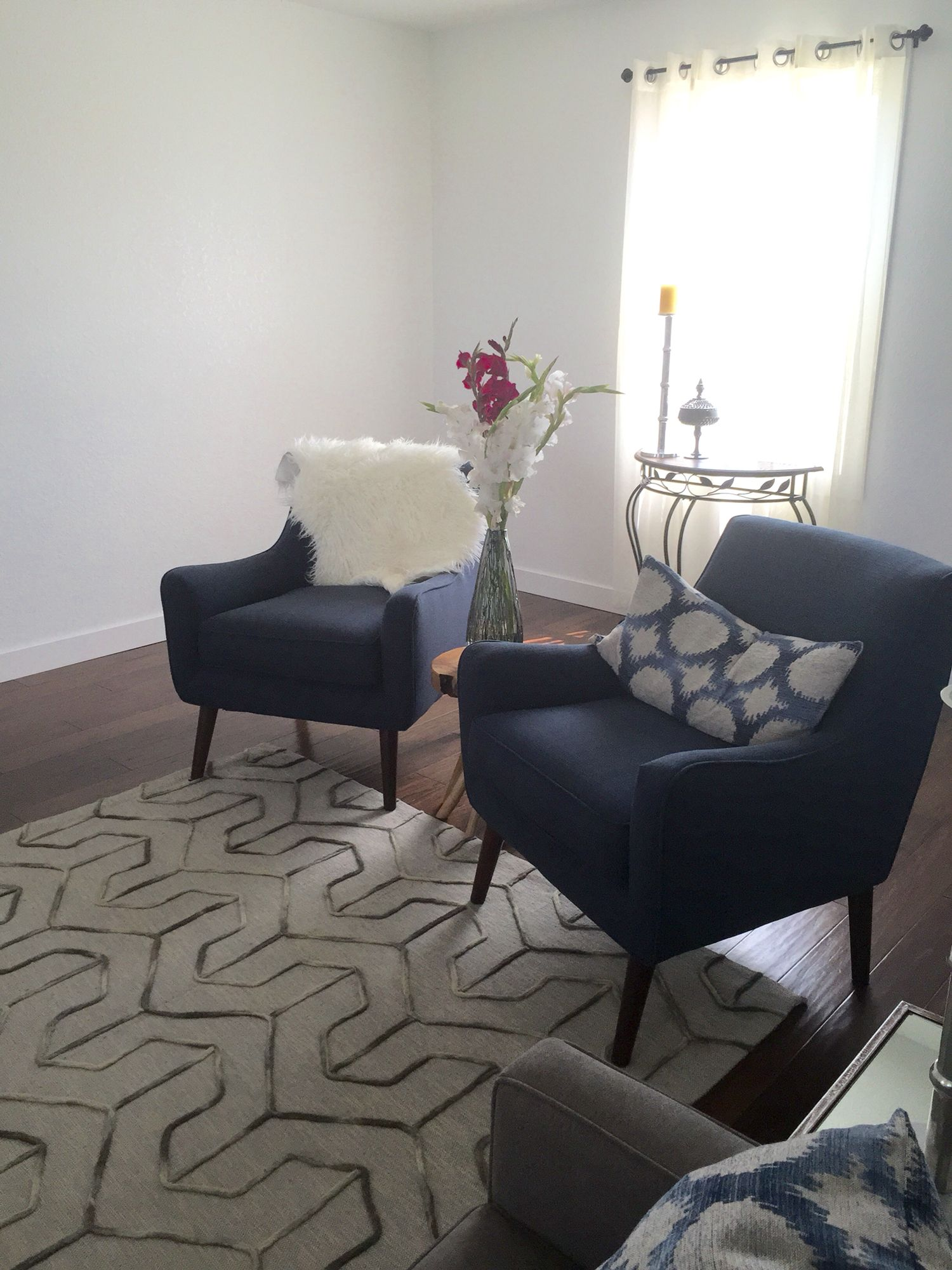 Navy chairs from Art Van furniture side table from marshals lamb