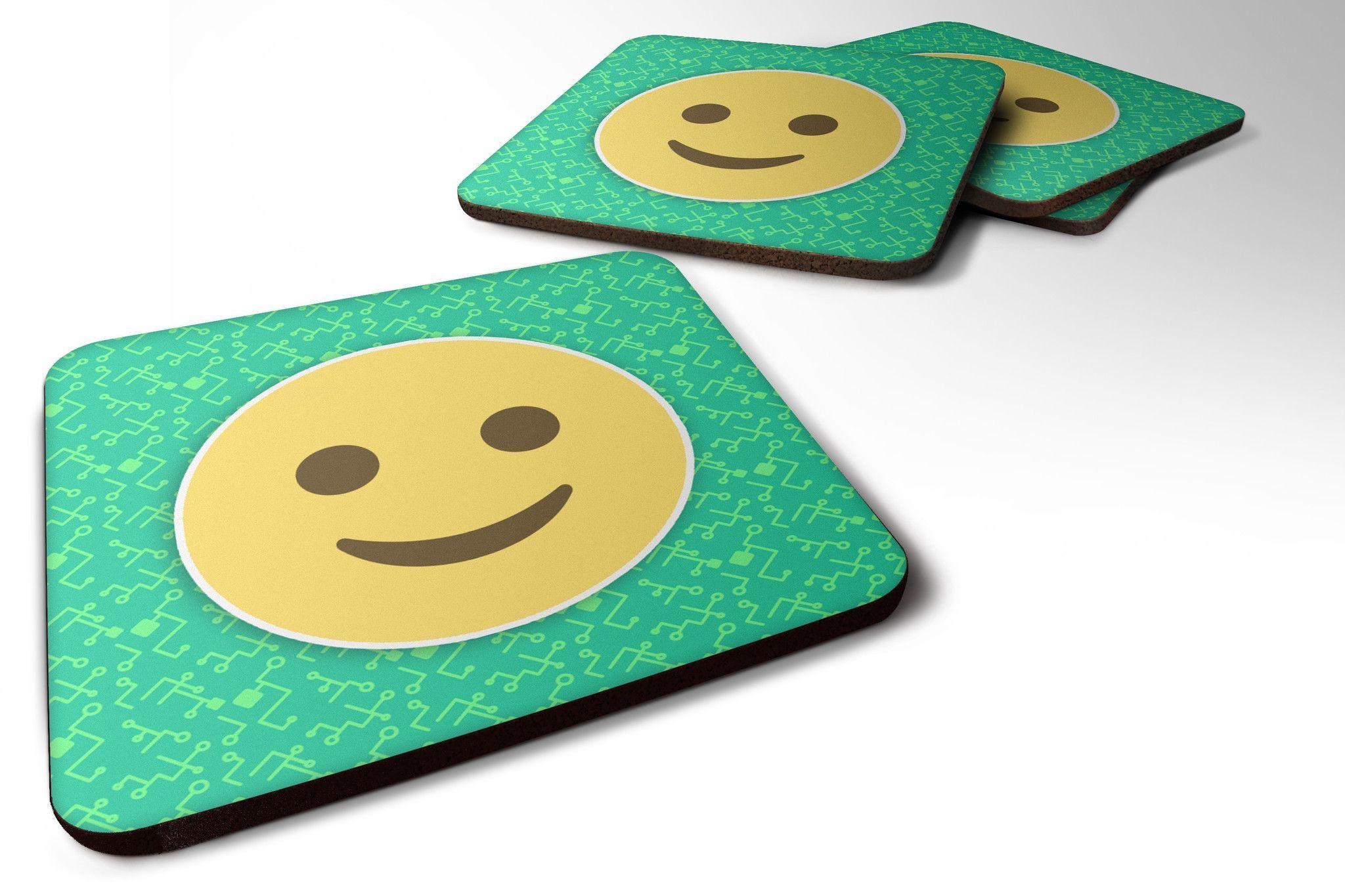 Slightly Smiling Face Emojione Emoji Foam Coaster Set of 4 EON1045FC